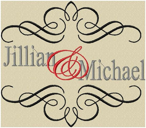 Wedding scroll design machine embroidery by