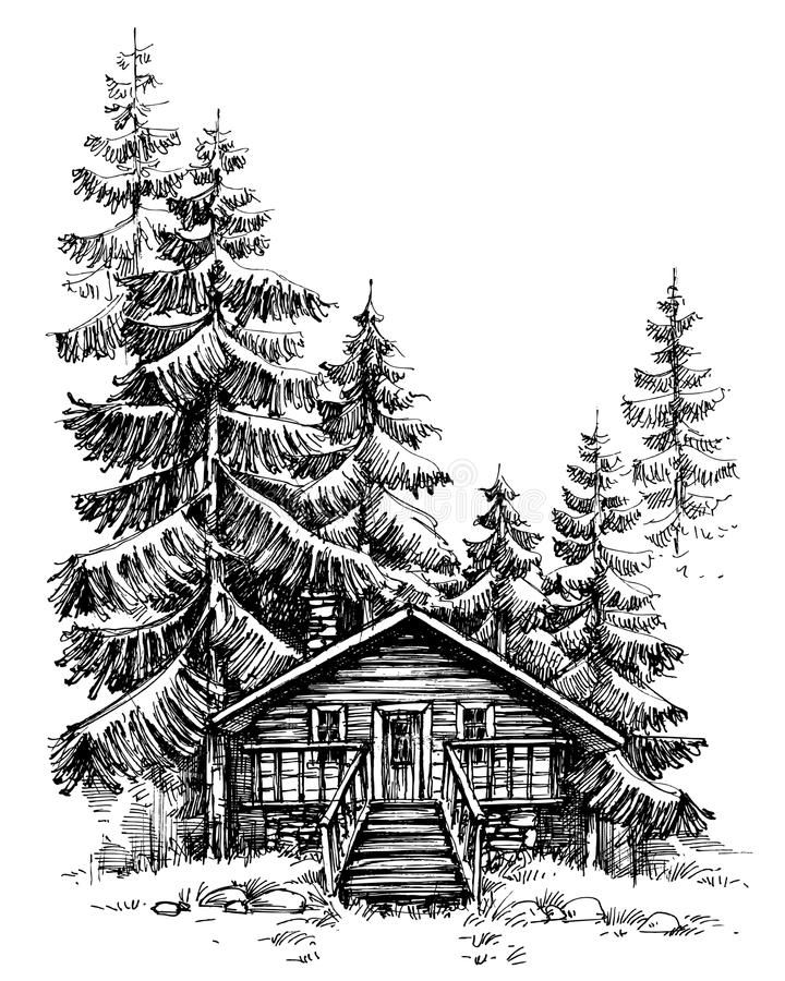A Wooden Cabin In The Pine Forest Idyllic Winter Landscape Holidays Retreat Affiliate Pine Forest Landscape Sketch Winter Landscape Landscape Drawings