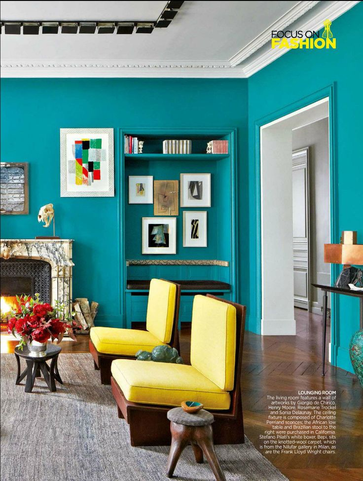 Bohemian Style Living Room In A London Town House Azure Blue Walls And Lemon Yellow Chairs Features Architectural Digest India