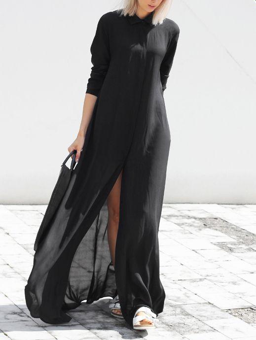 Black Chiffon Maxi Shirt Dress -SheIn(abaday)