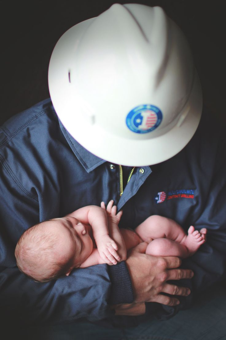 Oilfield dad newborn picture