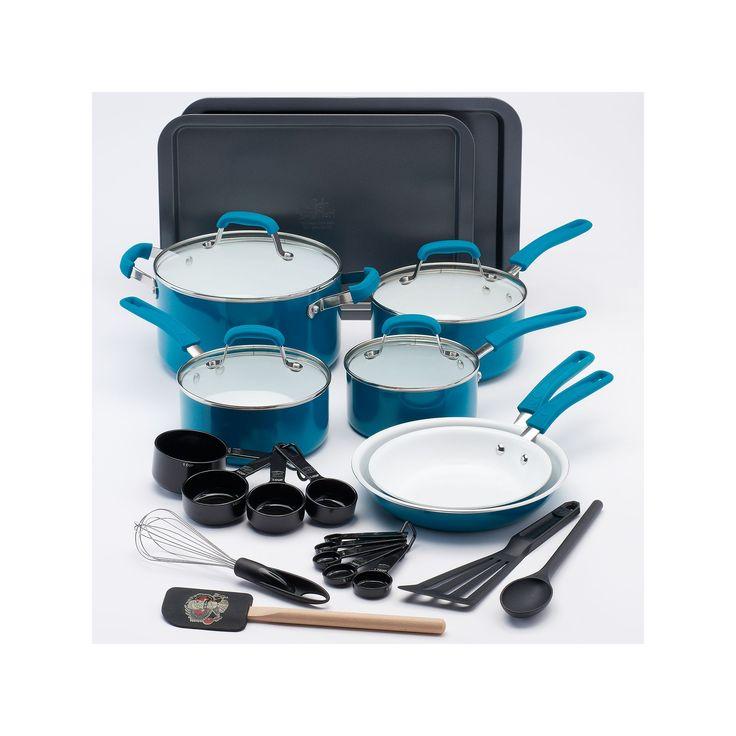Guy Fieri 25-pc. Ceramic Nonstick Cookware Set, Turquoise/Blue (Turq/Aqua)