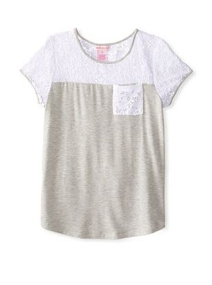 40% OFF Design History Girl's 7-16 Lace Panel Tunic (Marble Heather)