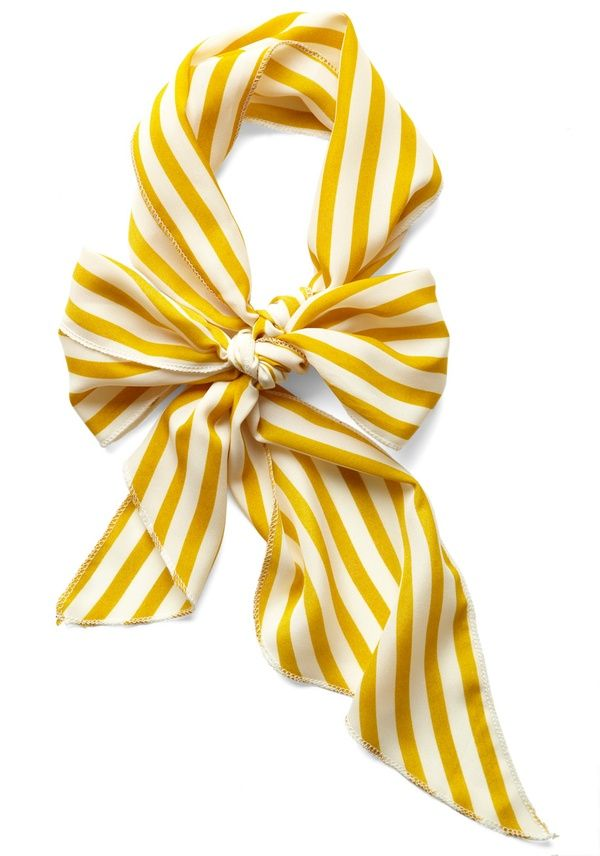 I picture wearing this gorgeous head scarf with a pair of bug eye sunnies and red lippy, driving down the highway in a convertible!: Fashion, Yellow Stripes, Striped Scarves, Style, Stripes Scarfs, Bows Scarfs, Stern Scarfs, White Stripes, Mustard Stripes