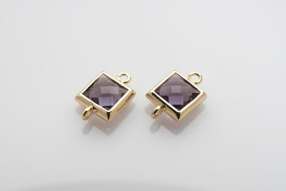 10% OFF For 10 Pieces Amethyst Glass Connector, Square Glass, Polished Gold Plated Over Brass - 10 pieces / SGLP0003G/AMETHYST/PG