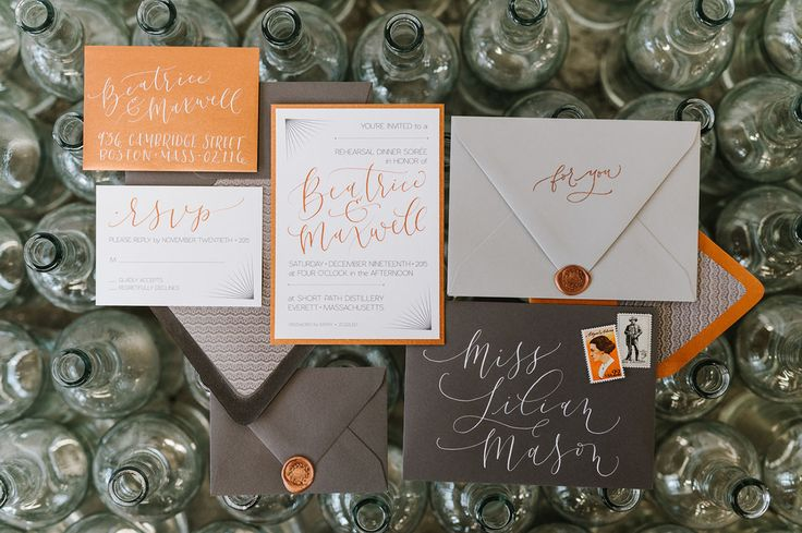 black, gold, + grey invitations // modern calligraphy, wax seals, luxe