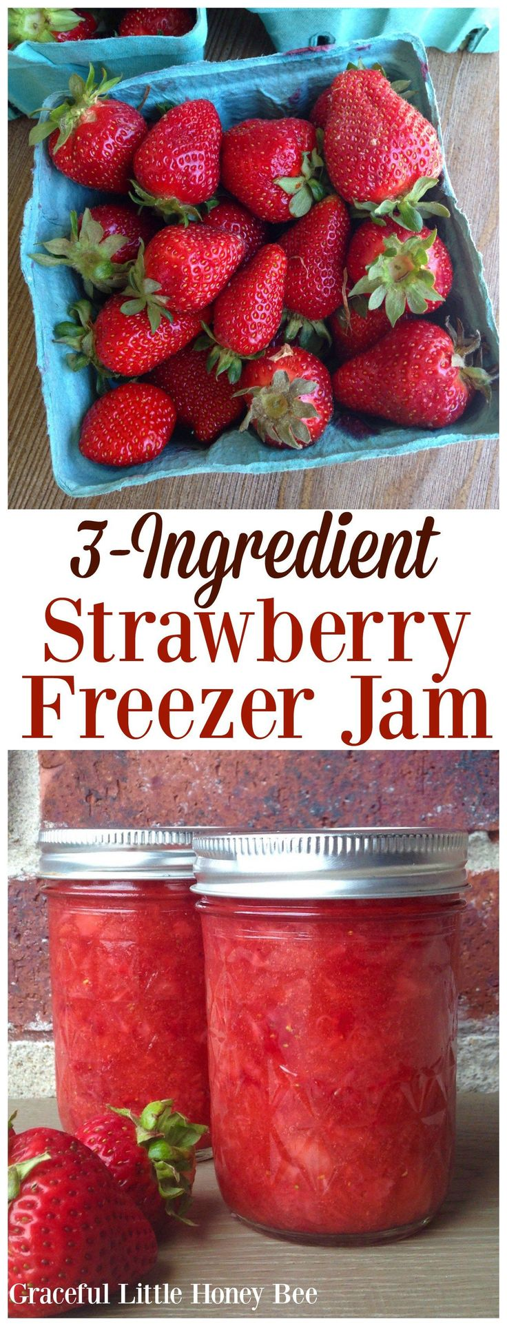 You've got to try this quick and easy 3-Ingredient Strawberry Freezer Jam. It tastes like strawberry shortcake in a jar!