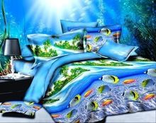Cartoon kids ocean fish bedding sets 4pc,queen size palm oceah holiday bedding sets,2order more discount  3D bed line sheet  From plonlineventures.com At Your Aliexpress link