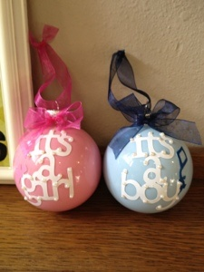 DIY Gift: Ornaments. Put the paint in and coat the inside of any glass or plastic ornament (found at Hobby Lobby, craft stores, etc.). Cut out the design on the Cricut glued on some pearls to make it sparkle (and cover up some imperfections). Tie on coordinating ribbon!!.o cute and super simple.