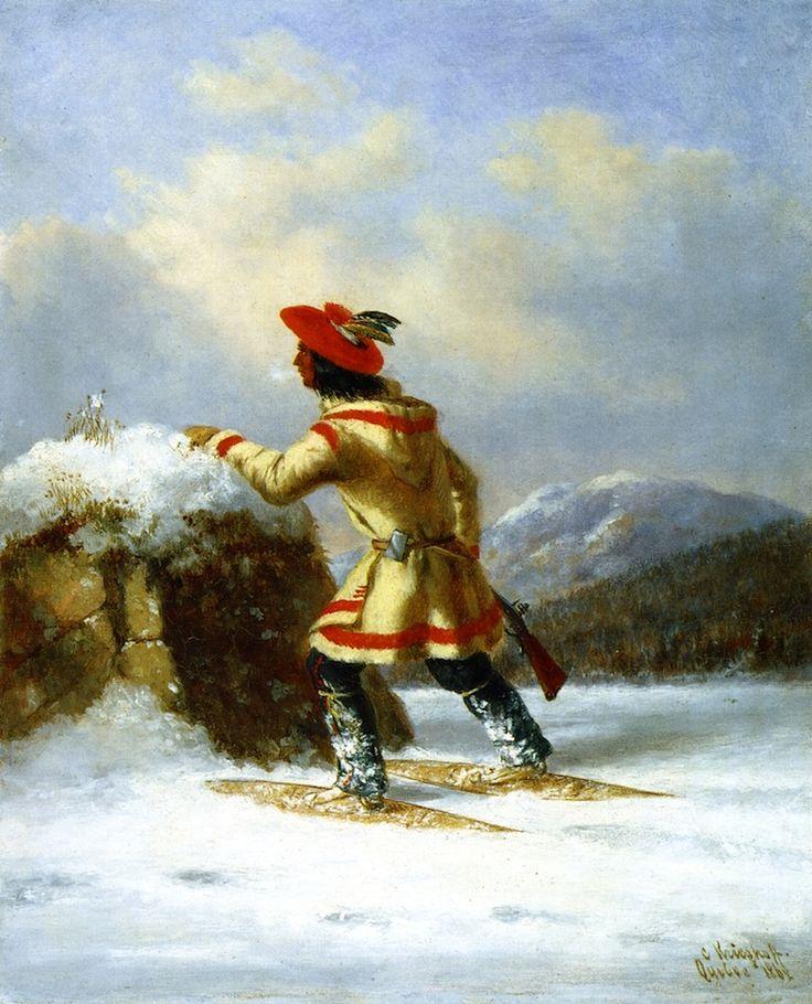 Cacciatore Indiano con Racchette da Neve II. L'uomo sta inseguendo un caribù.