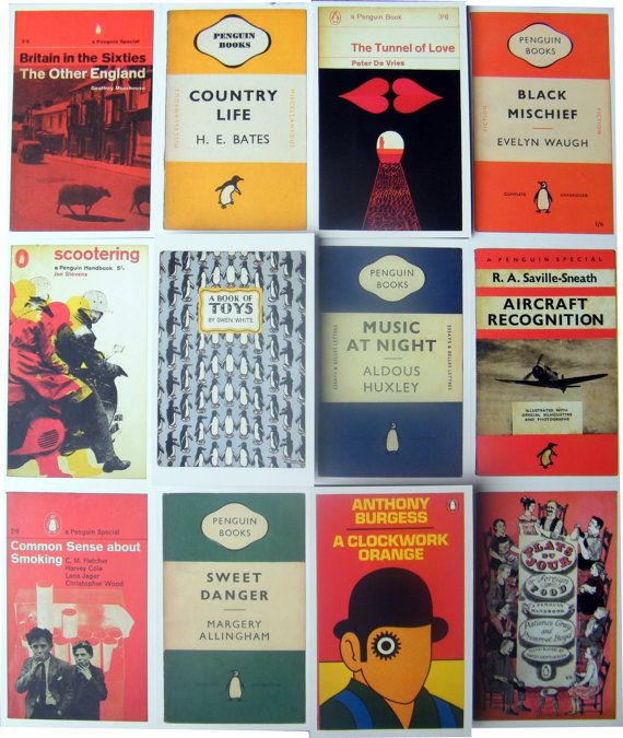 Vintage Penguin Book Cover Posters ~ Vintage penguin book covers postcard wall art square