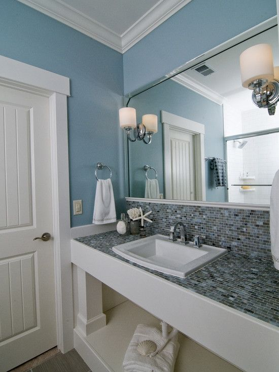 32 best images about blue bathrooms on pinterest What color to paint bathroom with gray tile