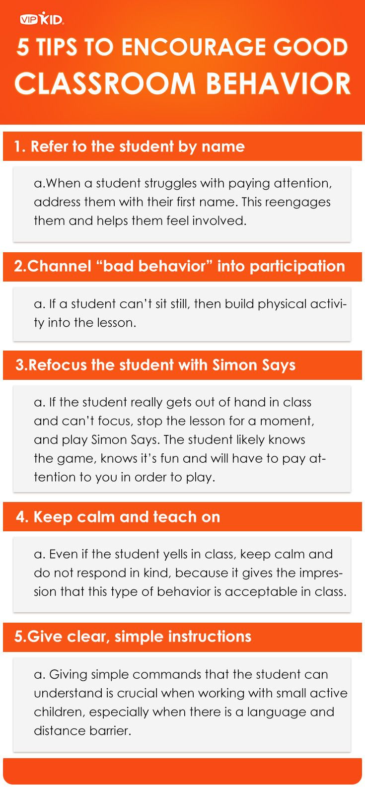 Even the best student can struggle with bad behavior at times. Breaking through this can be particularly difficult in an online classroom with a language barrier. Here are some suggestions for redirecting and remedying bad behavior. What's your go-to method for redirecting the student to the class? http://vblog.vipkid.com.cn?p=101