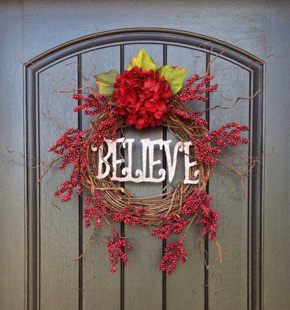 "Items similar to Christmas Wreath Winter Wreath Holiday Door Wreath Decor..""Believe"" on Etsy"