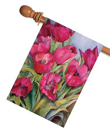 Look what I found on #zulily! Red Tulips Outdoor Flag #zulilyfinds