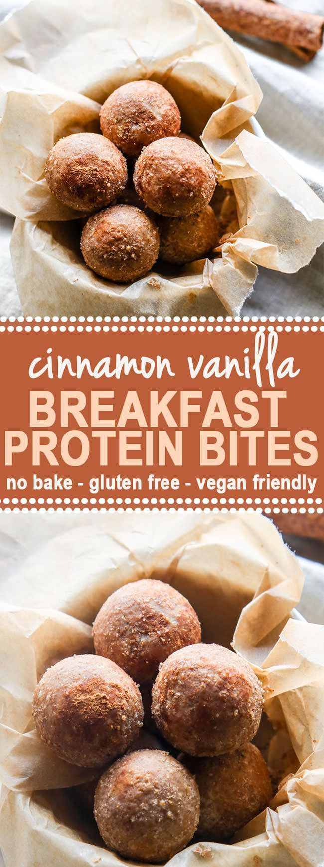 Cinnamon Vanilla Breakfast Protein Bites (No Bake, Gluten Free, Vegan Friendly)