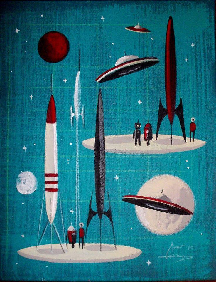 EL GATO GOMEZ PAINTING RETRO OUTER SPACE SHIP ROCKET ROBOT SCI-FI MARS 1960S #Modernism