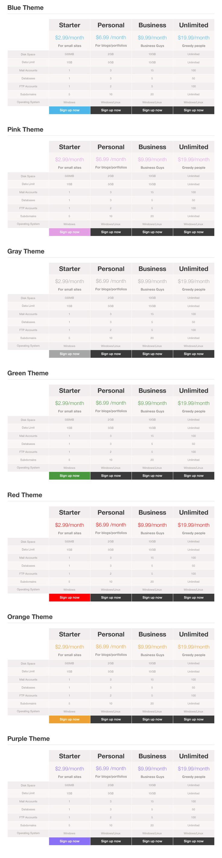 Responsive Clean Simple Pricing Tables