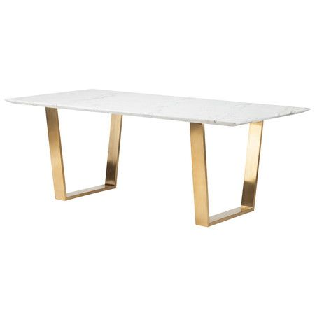 Gold-brushed stainless steel legs and a seared oak top give this table a contemporary look to enhance any space. This durable wooden piece stands tall and...