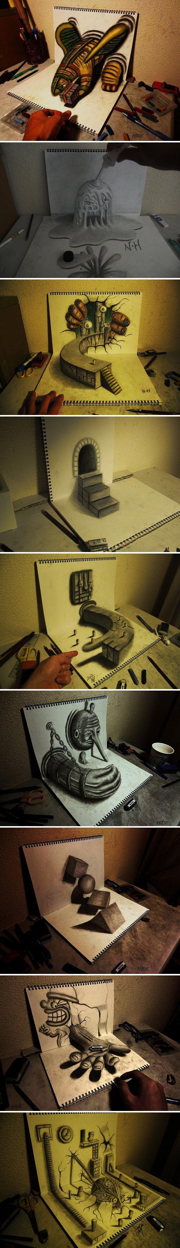 Incredibili disegni, con effetto 3D, realizzati a matita dall'artista Nagai Hideyuki
