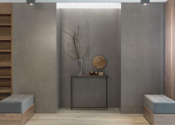 #Tendencias; #Interiores con #microcemento y #madera en #porcelánico.En la propuesta de hoy, #JuevesDeArquitectura, la esencia del #cemento #XLIGHT CODE de URBATEK - #PORCELANOSA Grupo en combinación con el maderas cerámicas Par-Ker ASCOT de PORCELANOSA como #pavimento. ¡Marca #tendencia en #interiorismo! - #Minimalist #Design #Modern #Wood #Concrete #Cemento