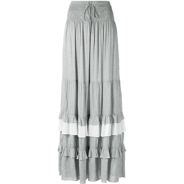 Lilly Sarti pleated maxi skirt (£415) ❤ liked on Polyvore featuring skirts, grey, grey maxi skirt, gray pleated skirt, gray maxi skirt, long pleated skirt and ankle length skirts