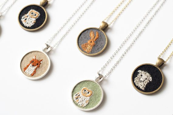 Embroidered Felt Necklaces (made by Nguyen Le of KnitKnit).