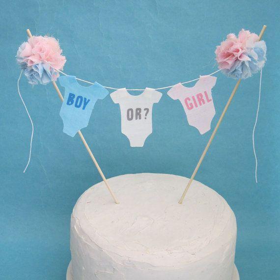 "Cake topper, gender reveal, Onsie banner baby shower,""Boy or Girl"" G191 - baby gender reveal bunting on Etsy, $32.00"