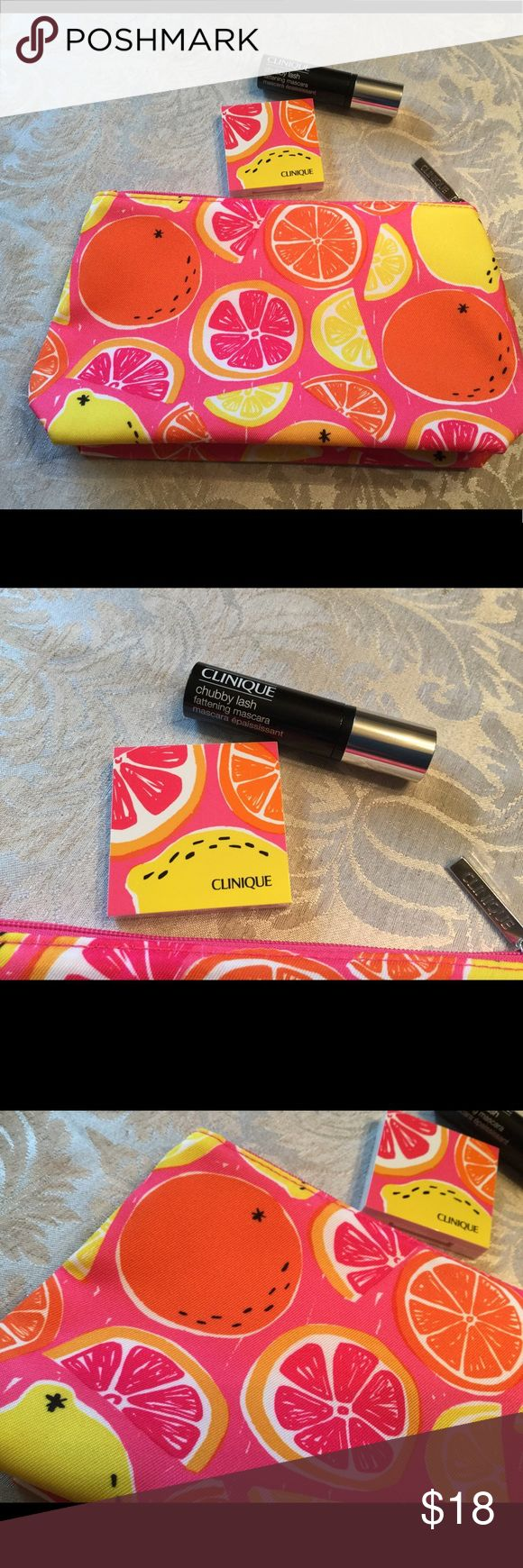 """🆕 Clinique Make-up Bag & Eyeshadow Blush Mascara 💛 Clinique pretty make-up bag ! Plus eye shadow, colors """" morning java """" and """" ballet flats """" ! Also powder blush color """" Smoldering Plum """" ! Plus chubby lash, color """" Jumbo Jet """" ! All new, Never used ! NWOT Clinique Makeup"""