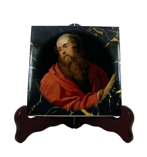 Religious gifts  Saint Andrew the Apostle  catholic icons on#Saint #Andrew the #Apostle #christian icon on ceramic tile handmade in Italy on #Etsy >>> https://www.etsy.com/listing/513902998 <<<