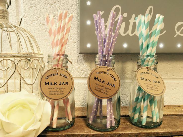 Beautiful Milk Jars perfect for weddings and perfect for pretty straws!!