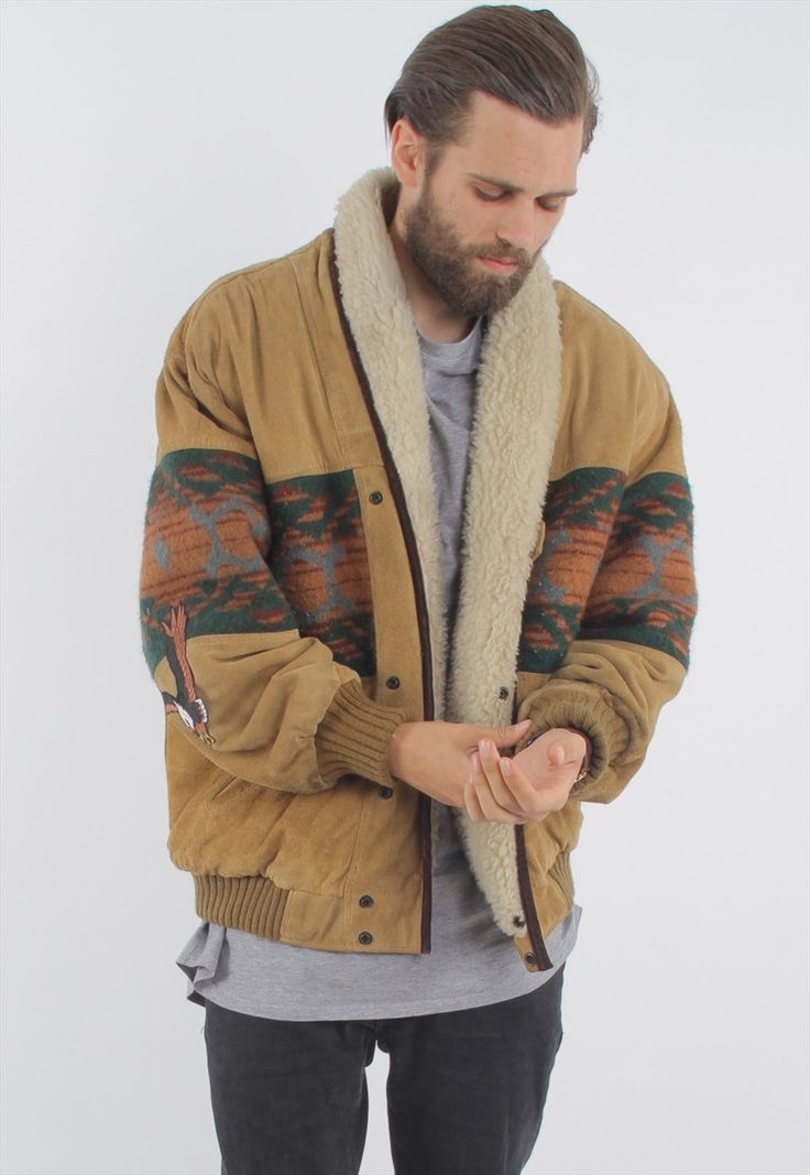 Vintage Aztec Sherpa Lined Suede Jacket | GULLYGARMS | ASOS Marketplace