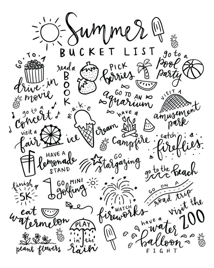 Summer Bucket List Free Printable Coloring Page Summer Bucket