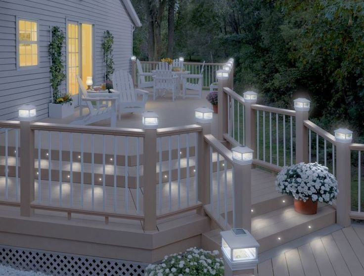 White deck with solar lighting