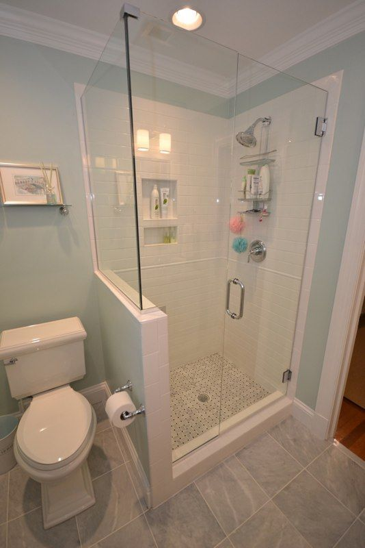 glass shower enclosure with half wall beside toilet for guest bath