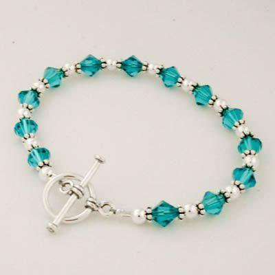Turquoise Blue Swarovski Crystal Beaded Toggle Bracelet