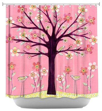 Pink Bird Tree Shower Curtain - contemporary - Shower Curtains - DiaNoche Designs