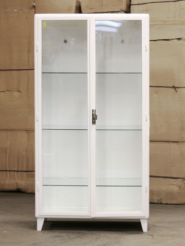 antique medicine cabinet in metal and glass painted white tre shelves of glass