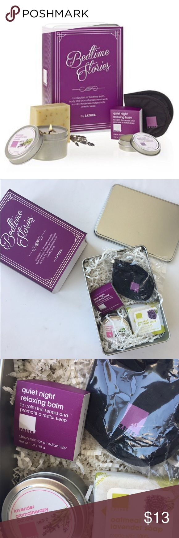 BEDTIME STORIES GIFT SET BY LATHER A collection of lavender-infused, slumber-inducing bath, body and aromatherapy treatments to calm the senses and promote restful sleep.oatmeal lavender •olive oil soap Net wt 4 oz •lavender aromatherapy candle Net wt 4 oz •quiet night relaxing balm Net wt 1 oz •eye mask, NEW. Lather Makeup Brushes & Tools