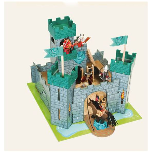 This is an absolutely awesome castle by Le Toy Van.  Featuring running boards, an opening drawbridge, a baseboard with moat detail, a trap door, flame torches, a dungeon and a knock out wall which will add to the effect during a battle.   It will create hours upon hours of imaginative play.