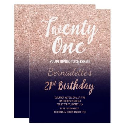 Rose Gold Glitter Navy Blue Ombre 21st Birthday Card