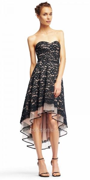 Strapless Lace High Low Pleated Cocktail Dress from Aidan by Aidan Mattox