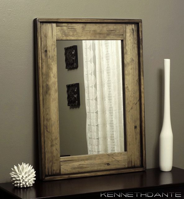 Superior Wood Mirror Bathroom Weathered Distressed With Antique White W Dowel  Accents Earthy Neutrals Powder Room Mirror