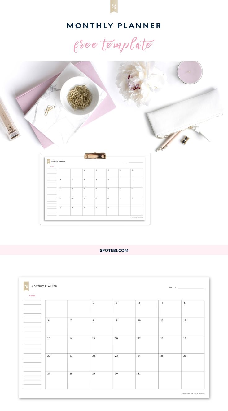 Download and print our monthly planner template and make time management a treat! Set your main goals for the month, keep track of special events and plan your objectives and projects. http://www.spotebi.com/fitness-tracker/monthly-planner-template/