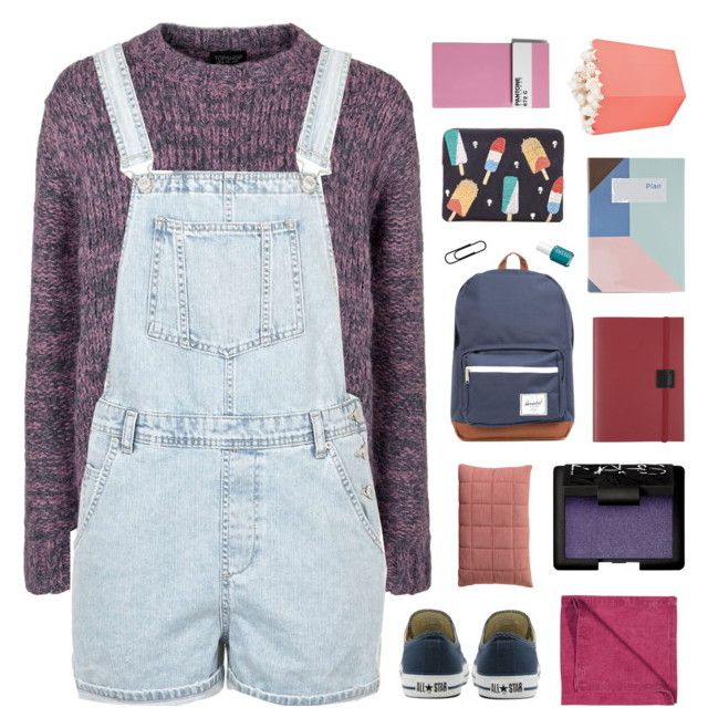 """""""conquer"""" by ruthaudreyk ❤ liked on Polyvore featuring Topshop, LINUM, Muuto, Converse, NARS Cosmetics, Herschel Supply Co., Undercover, Essie, Seletti and Lizzie Fortunato"""