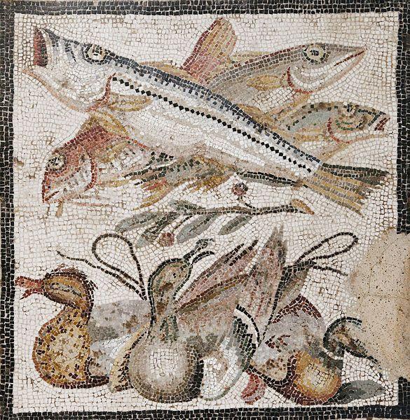 Mosaico con pesci, anatre e un rametto d'ulivo - dalla Casa del Granduca a Pompei - Museo Arch. Naz. Napoli