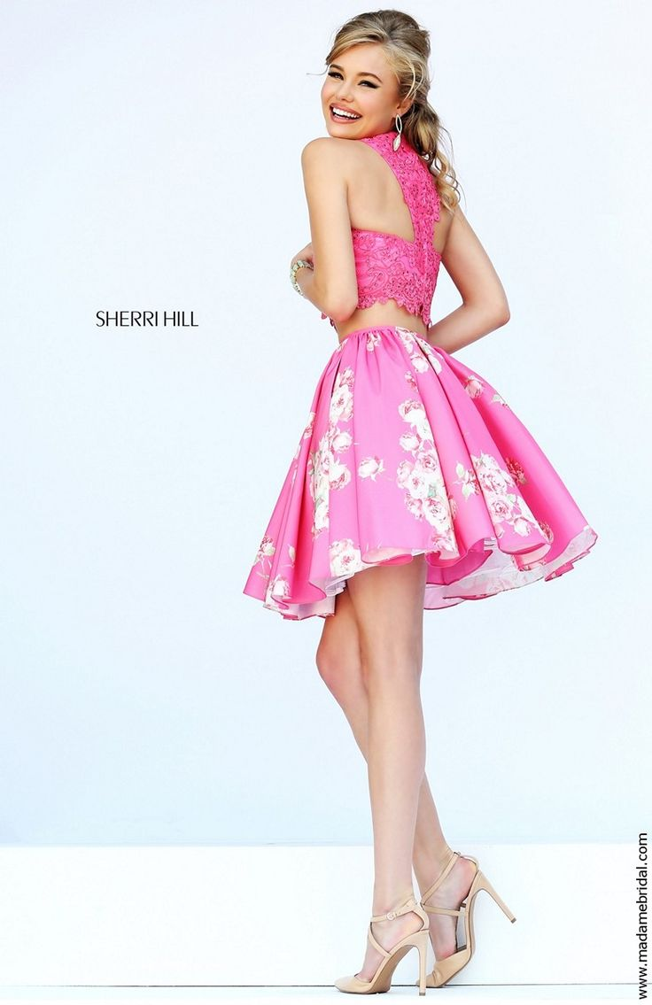 Sherri Hill 32245 Two-Piece Lace Crop Top Polka Dot Skirt Side Pocket - A Line, High Neck