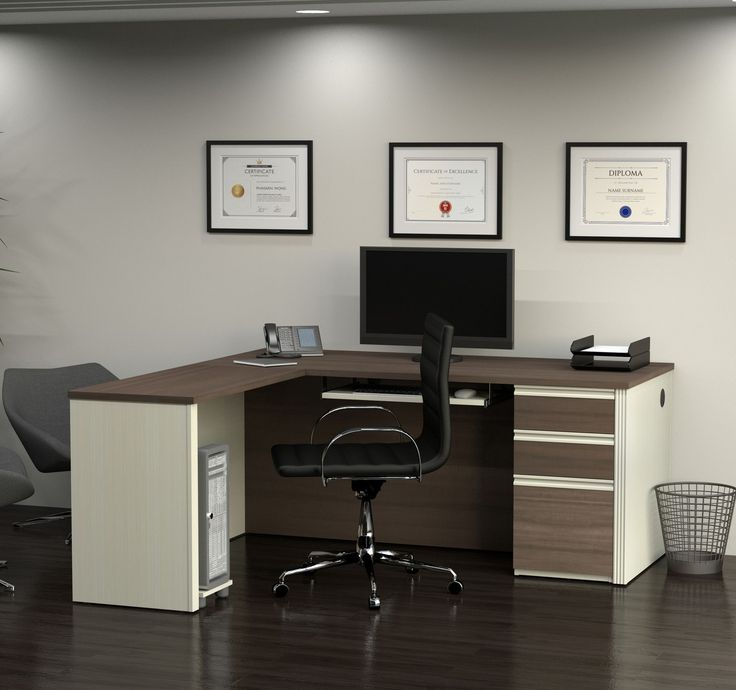 Modern L-shaped Office Desk in White Chocolate & Antigua