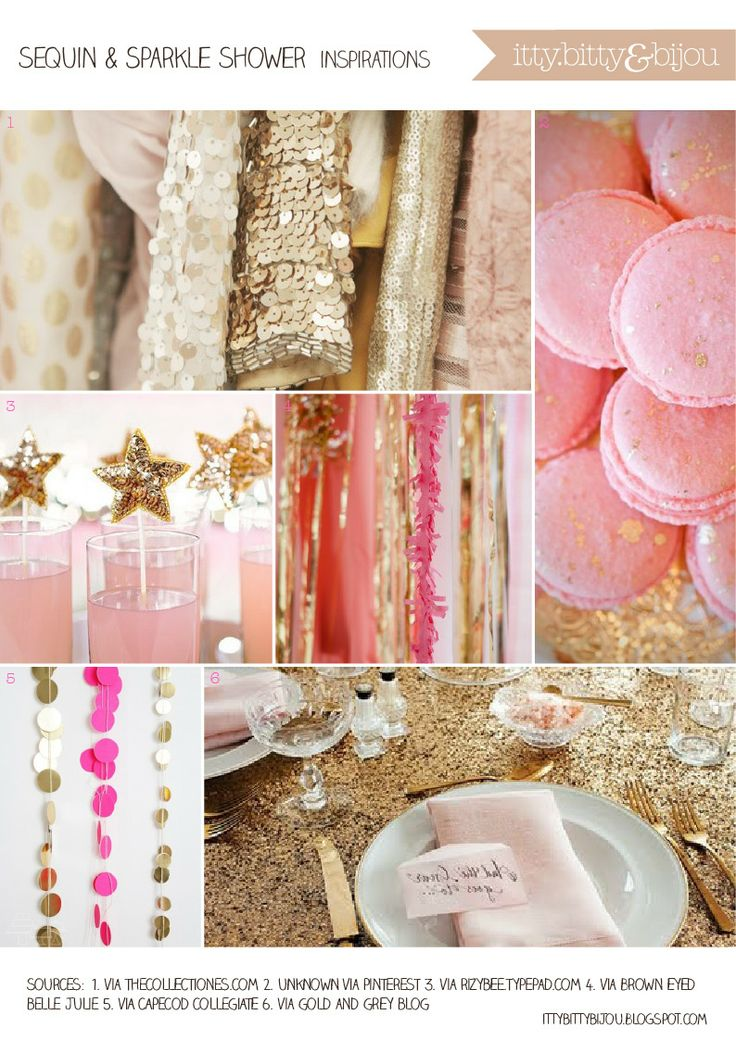Inspirations for a sequin and sparkle bridal shower
