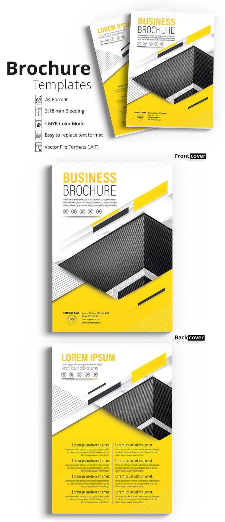 Brochure Cover Layout with Yellow and Gray Accents 2 - image   Adobe Stock #Brochure #Business #Proposal #Booklet #Flyer #Template #Design #Layout #Cover #Book #Booklet #A4 #Annual #Report  Brochure template   Brochure design template   Flyers   Template   Brochures   Flyer Background   Background design   Business Proposal   Proposal Design   Booklet   Professional   Professional - Proposal - Brochure - Template